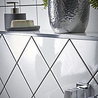 Core White Gloss Plain Ceramic Wall tile, Pack of 44, (L)150mm (W)150mm