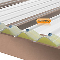 Corrapol Clear Polycarbonate Corrugated Roofing sheet (L)2.5m (W)950mm (T)1mm