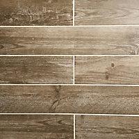 Cotage wood Light brown Matt Wood effect Porcelain Wall & floor Tile, Pack of 4, (L)1200mm (W)200mm