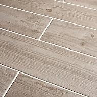 Cotage wood White Matt Wood effect Porcelain Outdoor Floor tile, Pack of 4, (L)1200mm (W)200mm