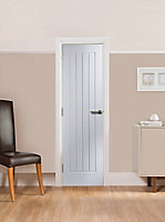 Cottage Pre-painted White Woodgrain effect LH & RH Internal Panel Door, (H)1981mm (W)686mm