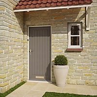 Cottage Primed White LH & RH External Front Door, (H)2032mm (W)813mm