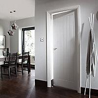 Cottage Primed White Woodgrain effect LH & RH Internal Door, (H)1981mm (W)610mm