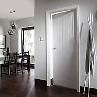 Cottage Primed White Woodgrain effect LH & RH Internal Door, (H)1981mm (W)686mm