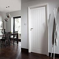 Cottage Primed White Woodgrain effect LH & RH Internal Panel Door, (H)2040mm (W)726mm