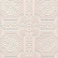 Craig & Rose White Tile Textured Wallpaper