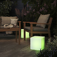 Crowell White Frosted effect Cube Solar-powered LED Outdoor Decorative light