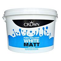 Crown Pure brilliant white Matt Emulsion paint 10L
