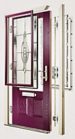 Crystal 4 panel Frosted Glazed Green Composite LH External Front Door set, (H)2055mm (W)920mm
