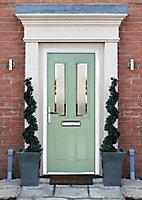 Crystal 4 panel Frosted Glazed Green Composite RH External Front Door set, (H)2055mm (W)920mm