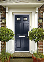Crystal 6 panel Frosted Glazed Navy blue Composite LH External Front Door set, (H)2055mm (W)920mm