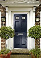 Crystal 6 panel Frosted Glazed Navy blue Composite RH External Front Door set, (H)2055mm (W)920mm