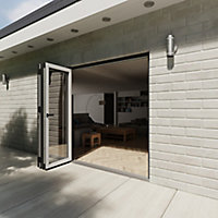 Crystal Clear Glazed Grey Aluminium LH External Folding Bi-fold Door set, (H)2104mm (W)2104mm