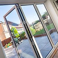 Crystal Clear Glazed Grey Aluminium LH External Folding Bi-fold Door set, (H)2104mm (W)2404mm