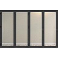 Crystal Clear Glazed Grey Aluminium LH External Folding Bi-fold Door set, (H)2104mm (W)3004mm