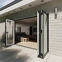 Crystal Clear Glazed Grey Aluminium RH External Folding Bi-fold Door set, (H)2104mm (W)3004mm
