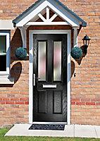 Crystal Frosted Glazed Black Composite RH External Front Door set, (H)2055mm (W)920mm