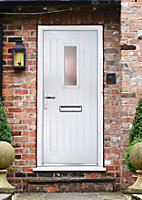 Crystal Frosted Glazed Cottage White Composite RH External Front Door set, (H)2055mm (W)920mm