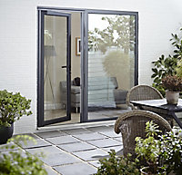 Crystal Glazed Grey Aluminium LH External Back Door, (H)2104mm (W)920mm