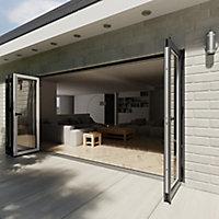 Crystal Glazed Grey Aluminium LH External Bi-fold Door set, (H)2104mm (W)4204mm