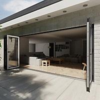 Crystal Glazed Grey Aluminium LH External Bi-fold Door set, (H)2104mm (W)4804mm