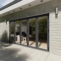 Crystal Glazed Grey Aluminium RH External Bi-fold Door set, (H)2104mm (W)3604mm