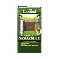 Cuprinol One coat sprayable Harvest brown Matt Fence & shed Treatment 5L