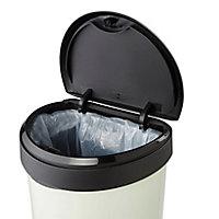 Curver Deco Touch top Cream Plastic Semi-circle Kitchen bin, 40L