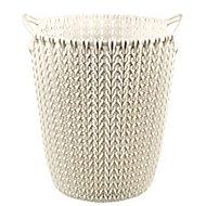 Curver Oasis white Knit effect Plastic Circular Kitchen Bin, 7L