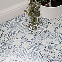D-C-Fix Floor covering Blue & white Vintage Mosaic effect Self adhesive Tiles, Pack of 11