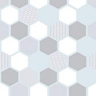 D-C-Fix Hexagonal Matt Clear & white Film (L)1.5m (W)450mm