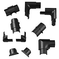 D-Line Black 30mm Mini trunking accessory, Pack of 10