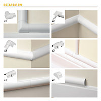D-Line White Mini trunking accessory, Pack of 10