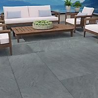 Dakota Grey Matt Stone effect Porcelain Outdoor Floor Tile, Pack of 2, (L)600mm (W)600mm