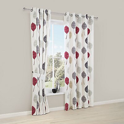 Dario Beige Grey Red White Fl, Lined White Curtains