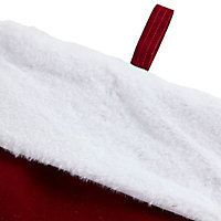 Dark red Velvet & faux fur Stocking