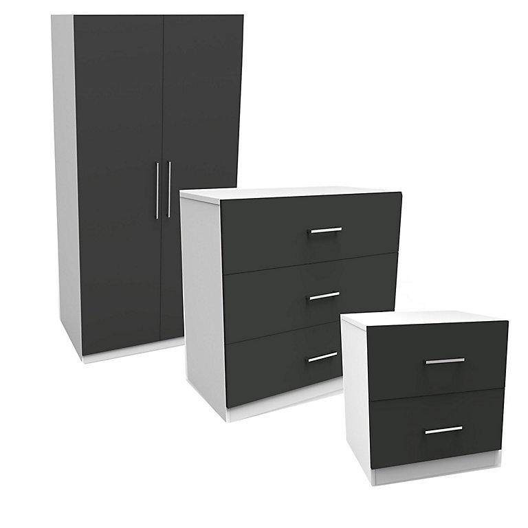 Darwin Gloss Anthracite White 3 Piece, White Bedroom Furniture Sets B Q