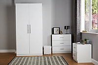 Darwin Gloss white 2 Drawer Bedside chest (H)548mm (W)500mm (D)420mm