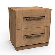Darwin Natural oak effect oak effect 2 Drawer Bedside chest (H)548mm (W)500mm (D)420mm