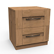 Darwin Oak effect 2 Drawer Bedside chest (H)548mm (W)500mm (D)420mm