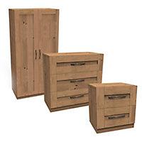 Darwin Oak effect 3 piece Bedroom furniture set