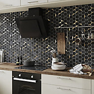 Delicato Black Natural stone & stainless steel Mosaic tile sheet, (L)306mm (W)332mm