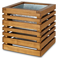 Denia Oiled wood brown Wooden Square Planter with Zinc plant pot 50cm