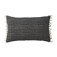 Denia Tasselled Black & off white Cushion