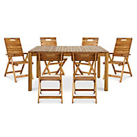 Denia Wooden 6 seater Dining set with Recliner & standard chairs