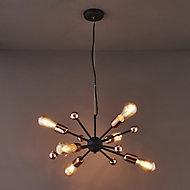Detroit Black Antique brass effect 6 Lamp Pendant Ceiling light
