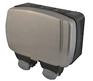 Diall 13A 2 gang Grey Outdoor RCD socket