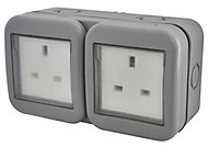 Diall 13A Grey Double Outdoor Switched Socket