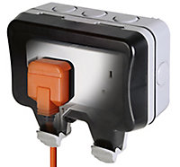 Diall 13A Grey Double Outdoor Unswitched Socket