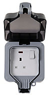 Diall 13A Grey Single Outdoor Switched Socket